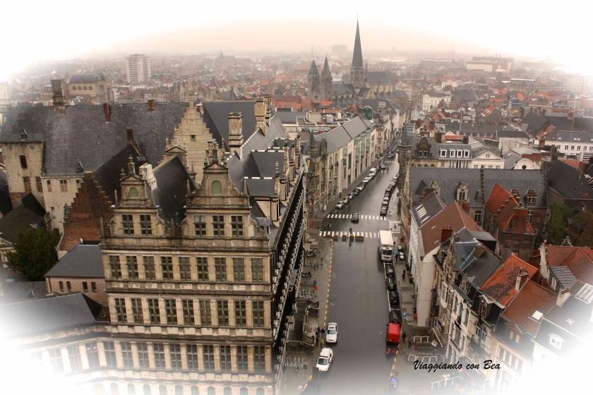 veduta sui tetti di Gand dal Belfort