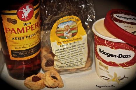 ecco i miei ingredienti: gelato, rum, taralli